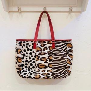 Rafe New York calf skin animal purse red strap